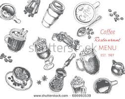 vector illustration sketch tea house card menu stock vector