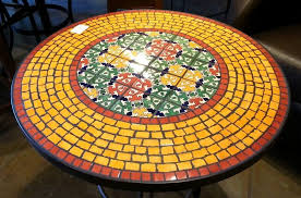 Tile Bistro Table Furniture Mosaic Tile Bistro Table Deign Ideas Enticing