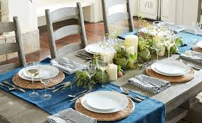 dining room table runner 5 ways to decorate a table with a runner pottery barn