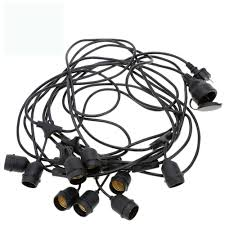 wholesale vintage commercial light string 9 hanging sockets 30ft