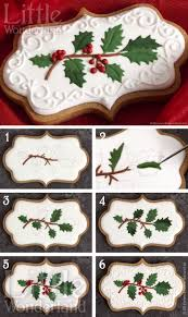 cookies gingerbread cut outs with sprig design in