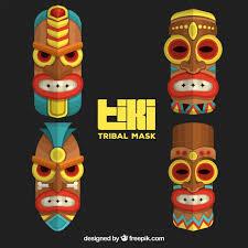 ornamental pack of tiki tribal masks vector free