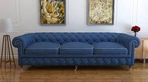 3 seater blue wool chesterfield sofa uk handmade chesterfields