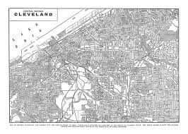 Map Cleveland Ohio by Cleveland Map Street Map Vintage Print Poster