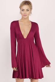 mauve dress deep v dress purple flared dress day dress 59