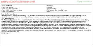 wheelchair repairer cover letter