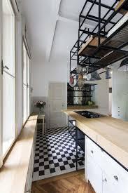 carrelage noir et blanc cuisine design interieur parquet chevron carrelage noir blanc ilot cuisine