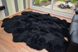 tappeti di pelliccia pelliccia naturale forma di sexto nero 6 montone tappeto tappeti