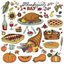 thanksgiving day icons doodle food set autumn harvest decor elements