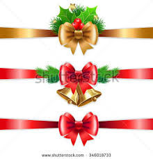 Decorate With Christmas Cards Christmas Holiday Decoration Red Gold Ribbons Stock Vector