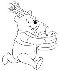 winnie bring the cake free birthday coloring pages cartoon