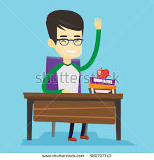 Picture Of Student Sitting At Desk Asian Student Sitting Desk Raised Hand Stock Vector 640175152