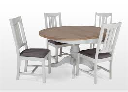 white oak extendable round dining table and four chairs set georgia