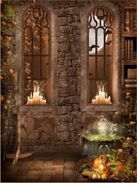 Custom Backdrops 10x10ft Indoor Stone Wall Windows Books Candles Halloween Pumpkin
