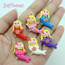 50pcs kawaii fimo clay mermaid craft charms cabochons diy pendant