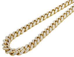 diamond necklace yellow gold images Mens 10k yellow gold miami cuban chocker big lock diamond necklace jpg