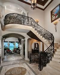 Villa Stairs Design Wrought Iron Stair Railing Staircase Mediterranean With Iron