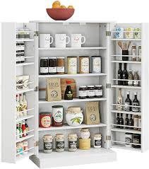 kitchen storage cabinets with doors and shelves home bi kitchen pantry cabinet storage cabinet with 5 shelves storage organizer for kitchenware cupboard space saving cabinet white