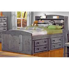 driftwood rustic full storage bed with 1 under bed dresser fort