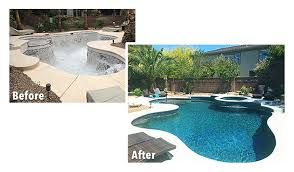 Backyard Renovations Before And After Swimming Pool Contractor Custom Pool Builder Las Vegas