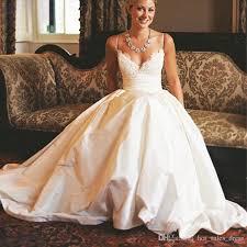 wedding dress with pockets discount modest 2017 a line wedding dresses spaghetti straps
