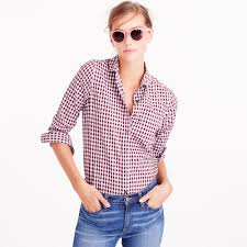tall club collar boy shirt in gingham women u0027s shirts j crew