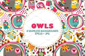 cute owls seamless background patterns creative market