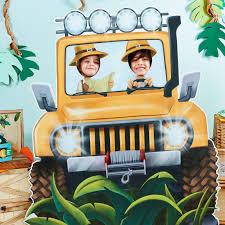 safari jeep clipart safari jungle party supplies big jeep stand up cardboard photo