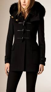 burberry fox fur trim wool duffle coat in black lyst