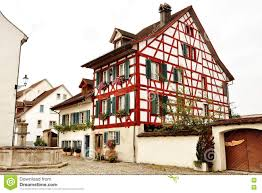 Frame House Typical Swiss Timber Frame House In Bremgarten Switzerland Stock