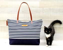 nautical tote stripe tote bag etsy