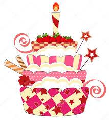 big strawberry birthday cake u2014 stock vector elfivetrov 8190630