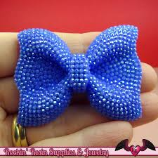 blue bows faux rhinestone flowers and bows rockin resin