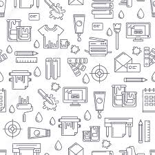 pattern is linear vector seamless pattern with linear printing symbols and icons