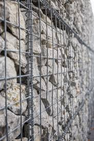 Rustic House External Feature Stone Wall Gabion Patio Rustic House