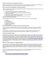 Job Res by Job Description Of A Respiratory Therapist