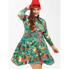 plus size christmas tree print party dress green xl in plus size