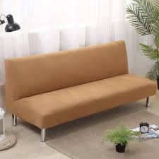 Armless Sofa Bed Solid Color Folding Sofa Cover Elastic Slipcovers For Armless Sofa