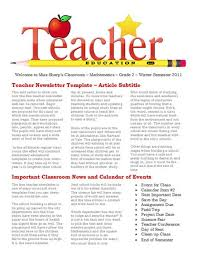 free newsletter templates for teaches and education