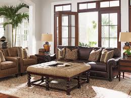 Living Room With Brown Leather Sofa by Kilimanjaro Riversdale Leather Sofa Lexington Home Brands