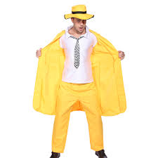 Mens Gangster Halloween Costume 90s Mens Yellow Gangster Zoot Suit Mask Jim Carrey Fancy