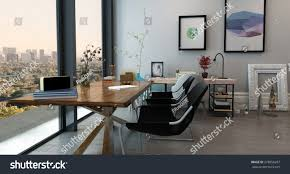 panoramic interior open concept office modern stock illustration