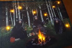 lighted black bear campfire smores camping log cabin lodge home