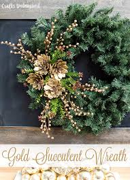 Holiday Wreath Diy Holiday Wreath With Gold Succulents Consumer Crafts