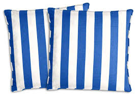 royal blue and white striped outdoor pillow set traditional