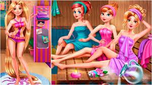 disney princess rapunzel ariel and anna sauna room game online