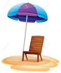 Beech Umbrella Illustration Of A Stripe Beach Umbrella And A Wooden Chair On