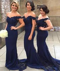 bridesmaid dresses in blue navy blue shoulder beaded lace prom dresses blue bridesmaid