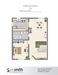 one bedroom floor plan 1400 van buren apartments in northwest