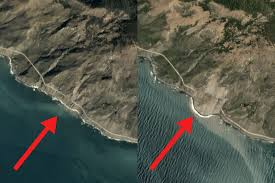 Scenic Route Map by Satellite Images Show Big Sur Highway 1 Before And After Mudslide